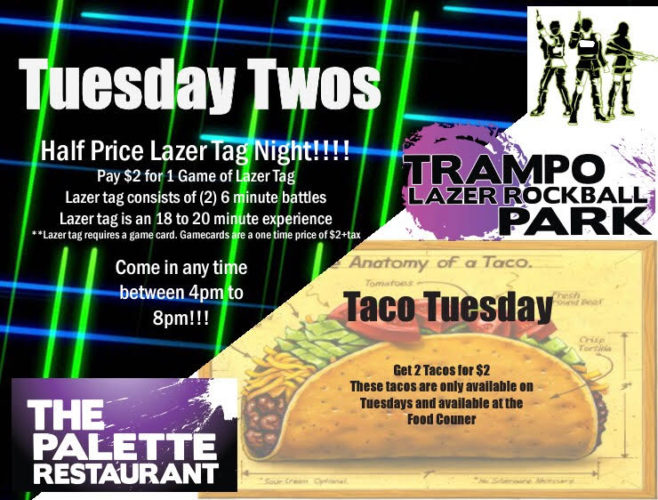 Oh Wow what a deal!! Come on in to the Park between 4pm and 8pm... Play some Intense Lazer Tag for Half Price.. Work up and Appetite and Head over to the Food Counter for Two $2 Tacos!! Fun And Delicious!! Click to see more details!